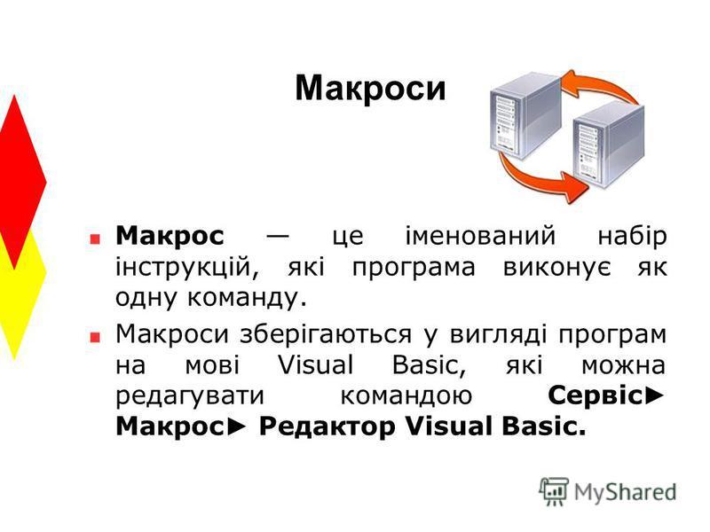 Макроси Макрос це іменований набір інструкцій, які програма виконує як одну команду. Макроси зберігаються у вигляді програм на мові Visual Basic, які можна редагувати командою Сервіс Макрос Редактор Visual Basic.