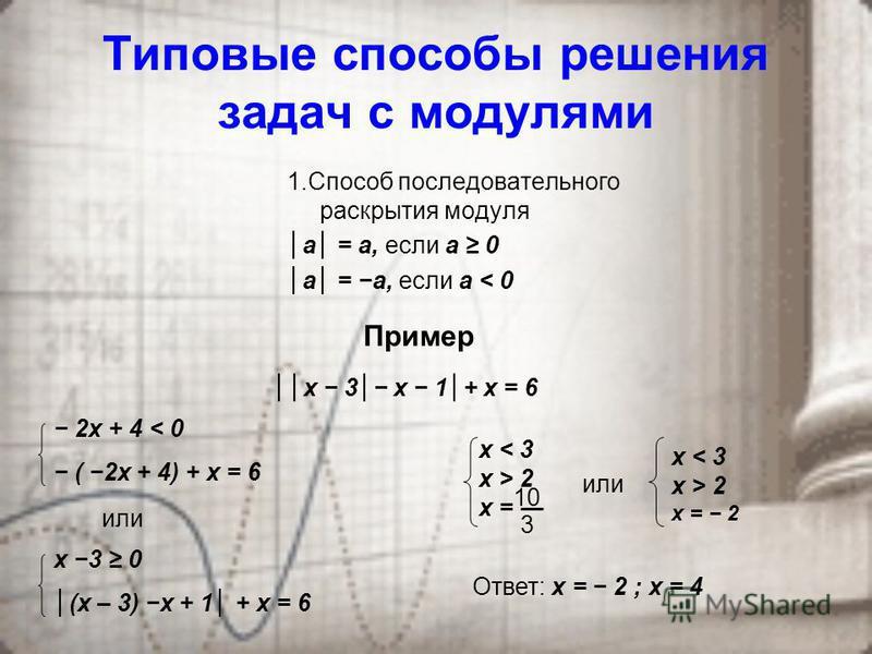 Свойства модуля І. Соотношения с одной переменной. 1° а = - а 2° а ² = а² 3° а²= а 4° а 0 ІІ. Соотношения с двумя и более переменными 1 ° и 1 + и 2 + … + и n = и 1 + и 2 + … + и n 2 ° и 1 + и 2 + … + и n = и 1 + и 2 +…+ и n 3 ° и + υ = и + υ и υ 0 4