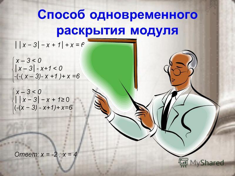 Типовые способы решения задач с модулями 1. Способ последовательного раскрытия модуля а = а, если а 0 а = а, если а < 0 х 3 х 1+ х = 6 2 х + 4 < 0 ( 2 х + 4) + х = 6 х 3 0 (х – 3) х + 1 + х = 6 или х < 3 х > 2 х = 10 3 или х < 3 х > 2 х = 2 Пример От