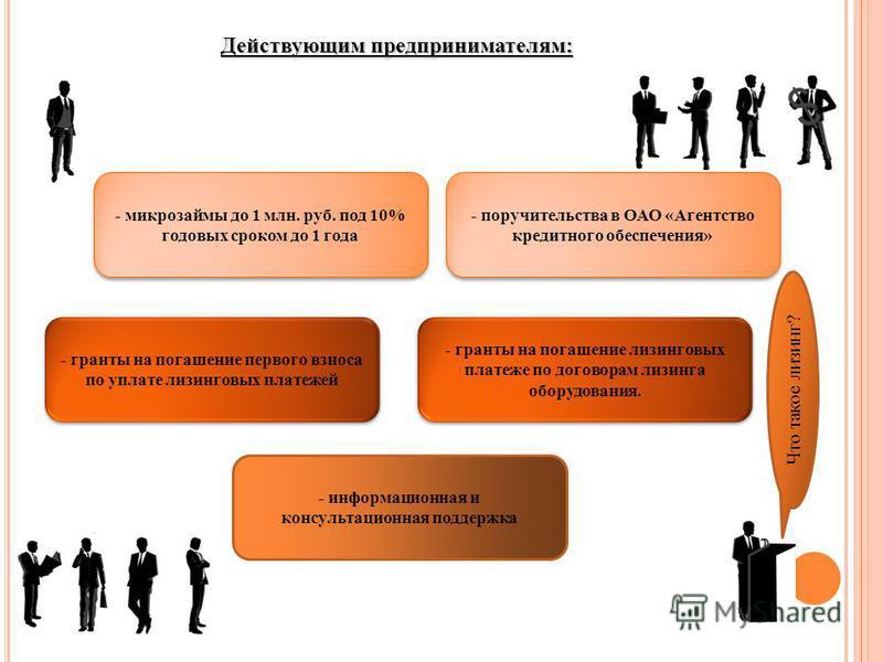 Действующим предпринимателям: - поручительства в ОАО «Агентство кредитного обеспечения» - информационная и консультационная поддержка - гранты на погашение первого взноса по уплате лизинговых платежей - гранты на погашение лизинговых платеже по догов