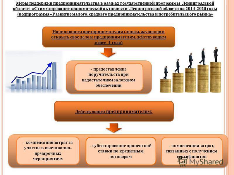 Меры поддержки предпринимательства в рамках государственной программы Ленинградской области «Стимулирование экономической активности Ленинградской области на 2014-2020 годы (подпрограмма «Развитие малого, среднего предпринимательства и потребительско