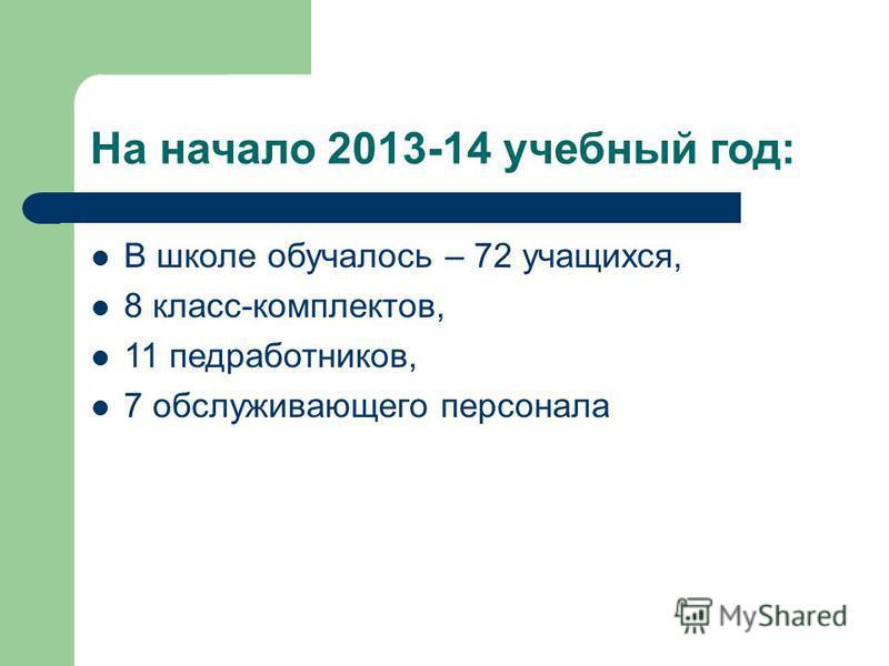 На начало 2013-14 учебный год: В школе обучалось – 72 учащихся, 8 класс-комплектов, 11 медработников, 7 обслуживающего персонала