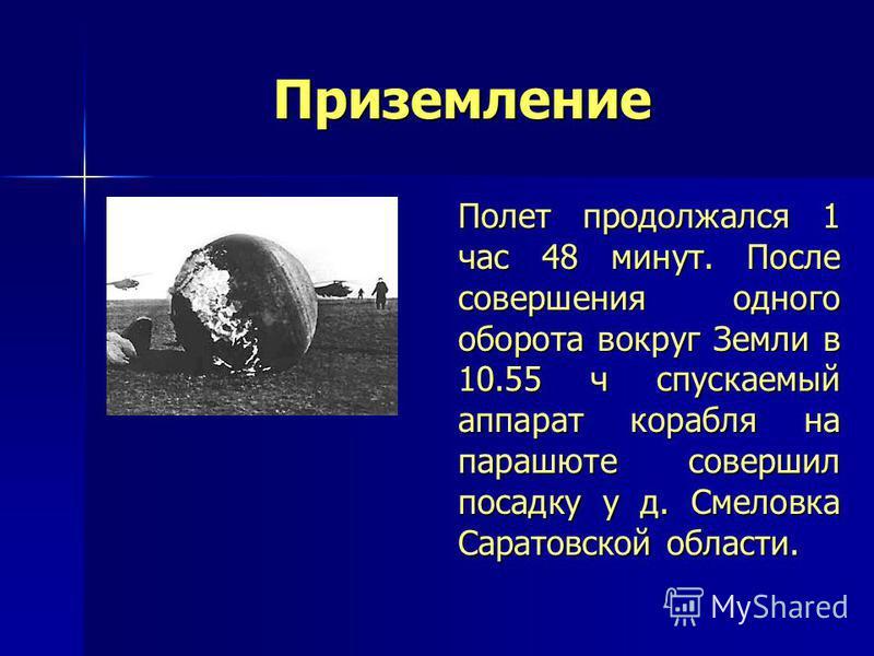 Приземление Полет продолжался 1 час 48 минут. После совершения одного оборота вокруг Земли в 10.55 ч спускаемый аппарат корабля на парашюте совершил посадку у д. Смеловка Саратовской области. Полет продолжался 1 час 48 минут. После совершения одного