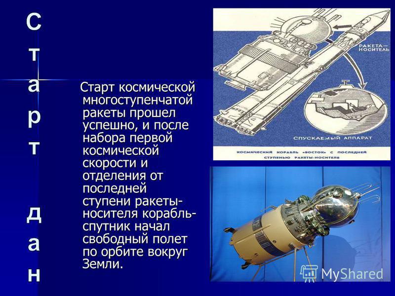 Старт космической многоступенчатой ракеты прошел успешно, и после набора первой космической скорости и отделения от последней ступени ракеты- носителя корабль- спутник начал свободный полет по орбите вокруг Земли. Старт космической многоступенчатой р
