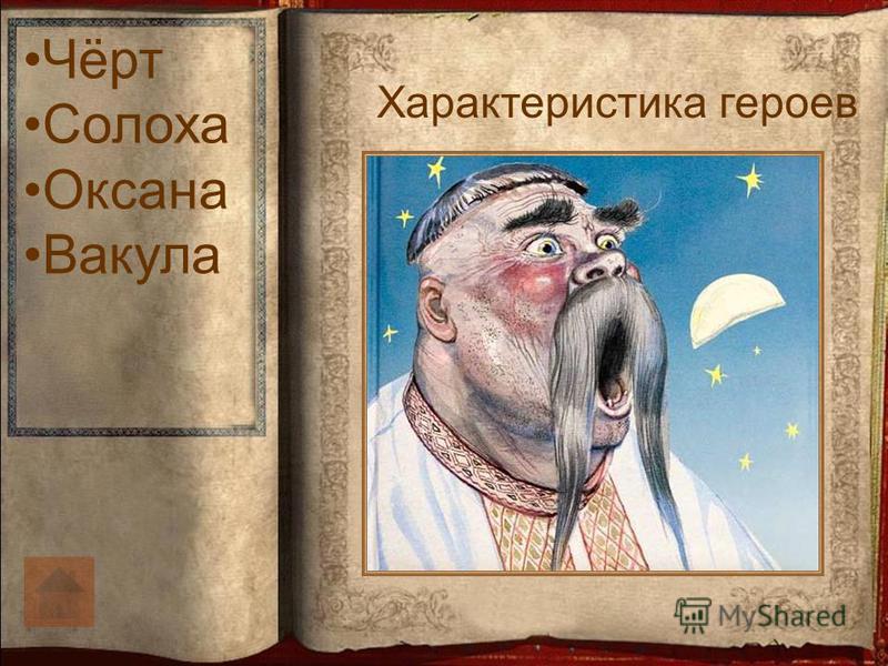 Характеристика героев Чёрт Солоха Оксана Вакула