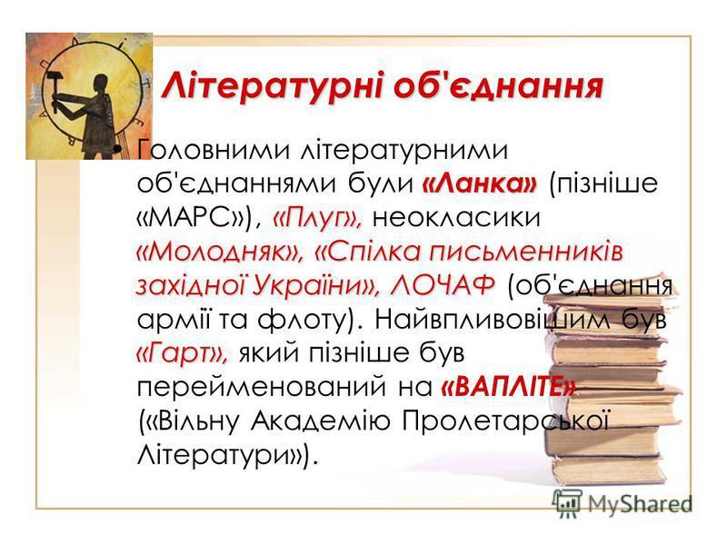 Літературні об'єднання «Ланка» «Плуг», «Молодняк», «Спілка письменників західної України», ЛОЧАФ «Гарт»,Головними літературними об'єднаннями були «Ланка» (пізніше «МАРС»), «Плуг», неокласики «Молодняк», «Спілка письменників західної України», ЛОЧАФ (