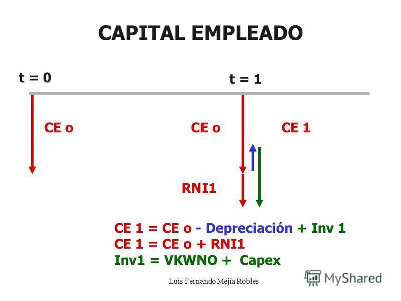 Luis Fernando Mejía Robles CAPITAL EMPLEADO CE o CE 1 = CE o - Depreciación + Inv 1 CE 1 = CE o + RNI1 Inv1 = VKWNO + Capex t = 0 t = 1 CE 1CE o RNI1