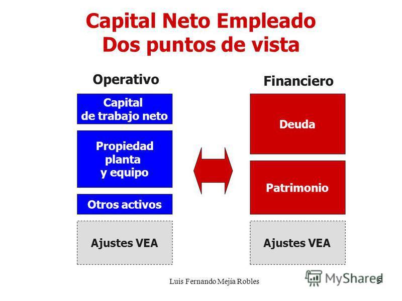 Luis Fernando Mejía Robles Capital Neto Empleado Dos puntos de vista Capital de trabajo neto Propiedad planta y equipo Ajustes VEA Deuda Patrimonio Otros activos Operativo Financiero Ajustes VEA 5