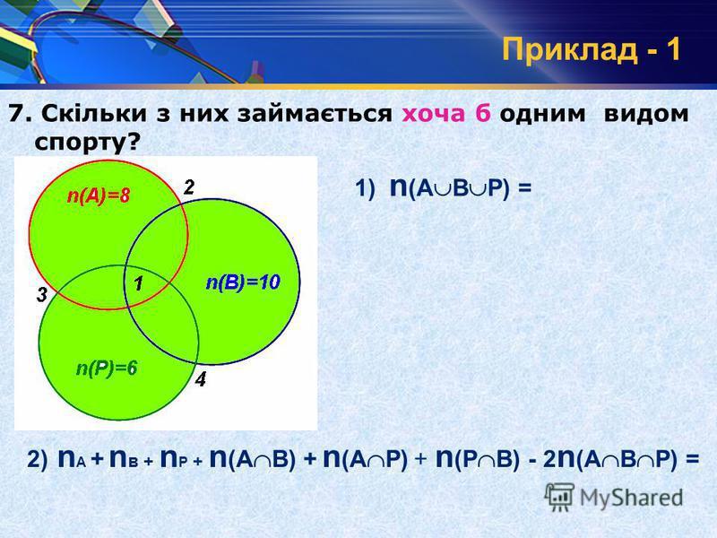 Приклад - 1 7. Скільки з них займається хоча б одним видом спорту? 1) n (А В Р) = 2) n А + n в + n Р + n (А В) + n (А Р) + n (Р В) - 2 n (А В Р) = n(А)=8 n(В)=10 n(Р)=6 3 2 4 1 1 2 3