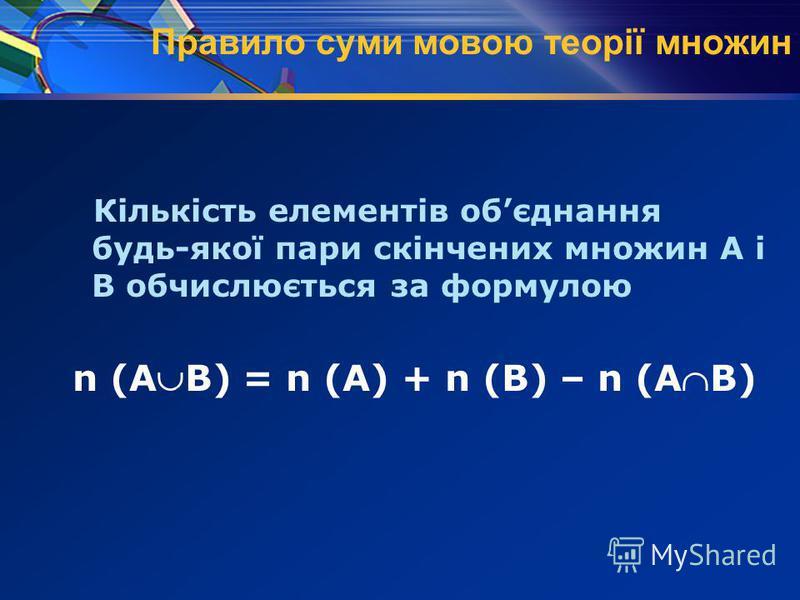 Правило суми мовою теорії множин Кількість елементів обєднання будь-якої пари скінчених множин А і В обчислюється за формулою n (АВ) = n (А) + n (В) – n (АВ)