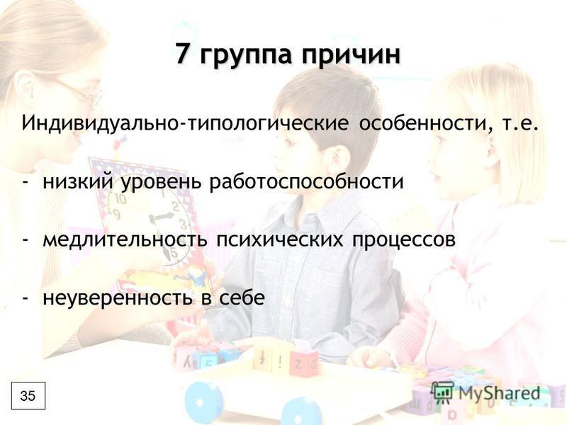 7 группа причин 7 группа причин Индивидуально-типологические особенности, т.е. -низкий уровень работоспособности -медлительность психических процессов -неуверенность в себе 35