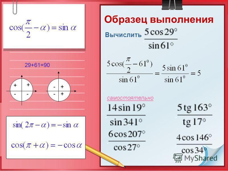Образец выполнения Вычислить самостоятельно 29+61=90 + + -- + + - -