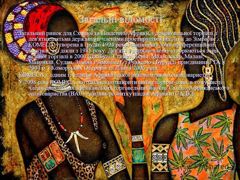 Загальний ринок для Східної та Південної Африки, є зоною вільної торгівлі з дев'ятнадцятьма державами-членами простирається від Лівії до Зімбабве. КОМЕСА утворена в грудні 1994 року, замінивши зони преференційної торгівлі, які діяли з 1981 року. Дев'