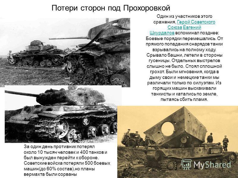 За один день противник потерял около 10 тысяч человек и 400 танков и был вынужден перейти к обороне. Советские войска потеряли 500 боевых машин(до 60% состав),но планы вермахта были сорваны Потери сторон под Прохоровкой Один из участников этого сраже