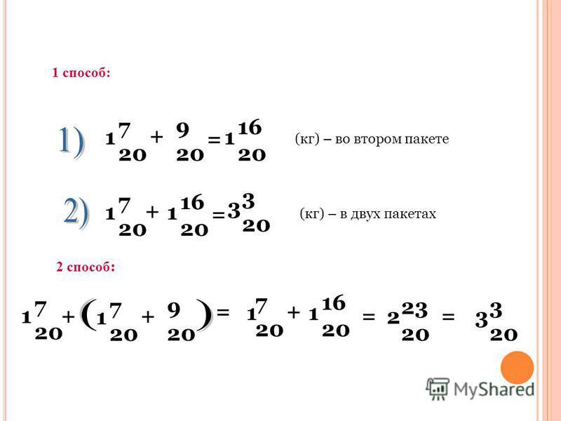 7 20 9 20 1 + = 16 20 1 7 20 1 + 16 20 1 = 3 3 20 1 способ: (кг) – во втором пакете (кг) – в двух пакетах 2 способ : 7 20 9 20 1+ 7 20 1 + = 7 20 1 + 16 20 1 = 2 23 20 3 3 20 =