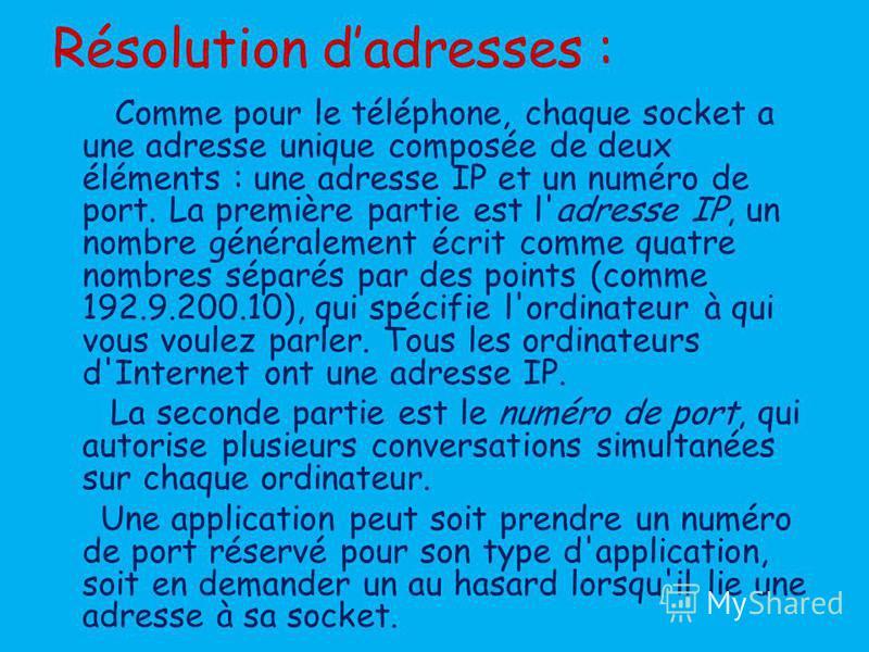 Résolution dadresses : Comme pour le téléphone, chaque socket a une adresse unique composée de deux éléments : une adresse IP et un numéro de port. La première partie est l'adresse IP, un nombre généralement écrit comme quatre nombres séparés par des