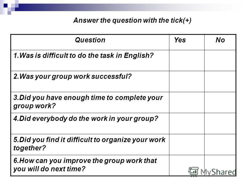 Question YesNo 1.Was is difficult to do the task in English? 2.Was your group work successful? 3.Did you have enough time to complete your group work? 4.Did everybody do the work in your group? 5.Did you find it difficult to organize your work togeth