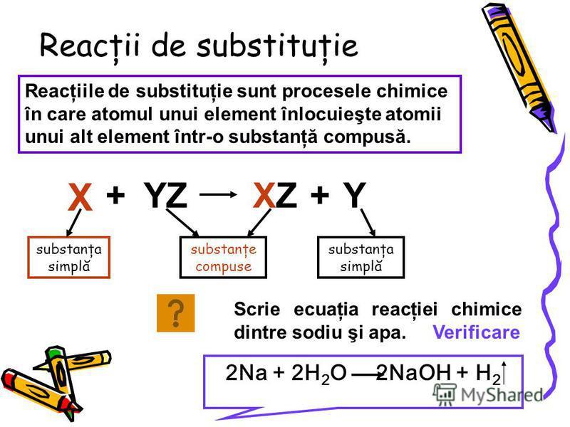 Reacţii de substituţie Reacţiile de substituţie sunt procesele chimice în care atomul unui element înlocuieşte atomii unui alt element într-o substanţă compusă. X +YZXZXZ+Y substanţa simplă substanţe compuse substanţa simplă Scrie ecuaţia reacţiei ch