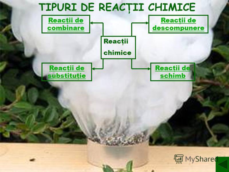 Reacţii chimice Reacţii de descompunere Reacţii de combinare Reacţii de substituţie Reacţii de schimb TIPURI DE REACŢII CHIMICE