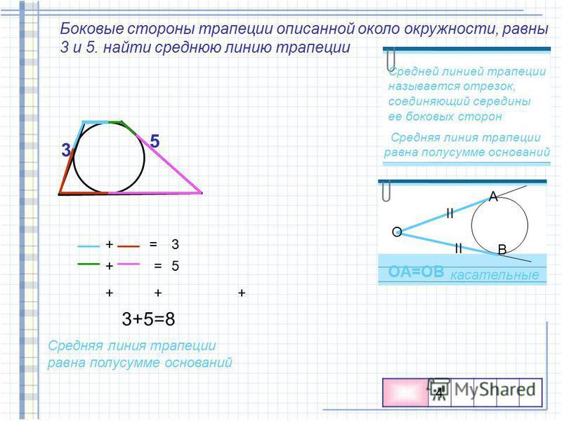 Боковые стороны трапеции описанной около окружности, равны 3 и 5. найти среднюю линию трапеции Средняя линия трапеции равна полусумме оснований Средней линией трапеции называется отрезок, соединяющий середины ее боковых сторон II O A B OA=OB касатель