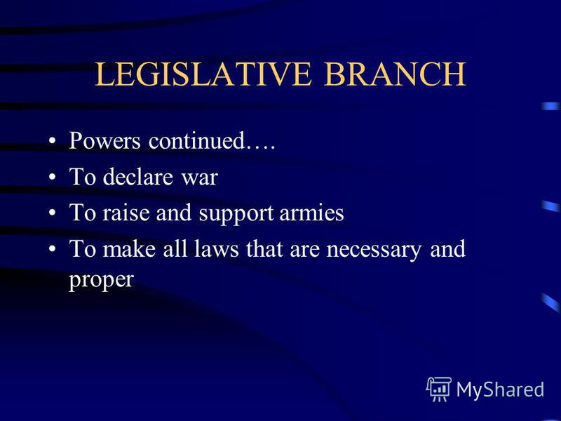 LEGISLATIVE BRACH Powers of Congress Oversee elections Set rules within the legislative branch To tax, to borrow money, to coin money Set rules of naturalization regulate commerce Establish Post Offices