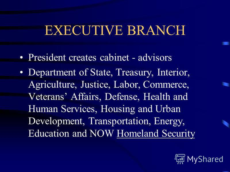 EXECUTIVE BRANCH Can be impeached for the following reasons: Treason Bribery Other high Crimes and Misdemeanors