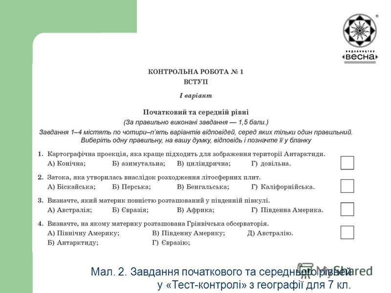 Мал. 2. Завдання початкового та середнього рівней у «Тест-контролі» з географії для 7 кл.