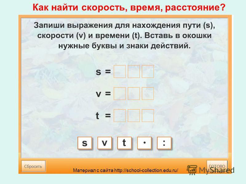 Как найти скорость, время, расстояние? Материал с сайта http://school-collection.edu.ru/