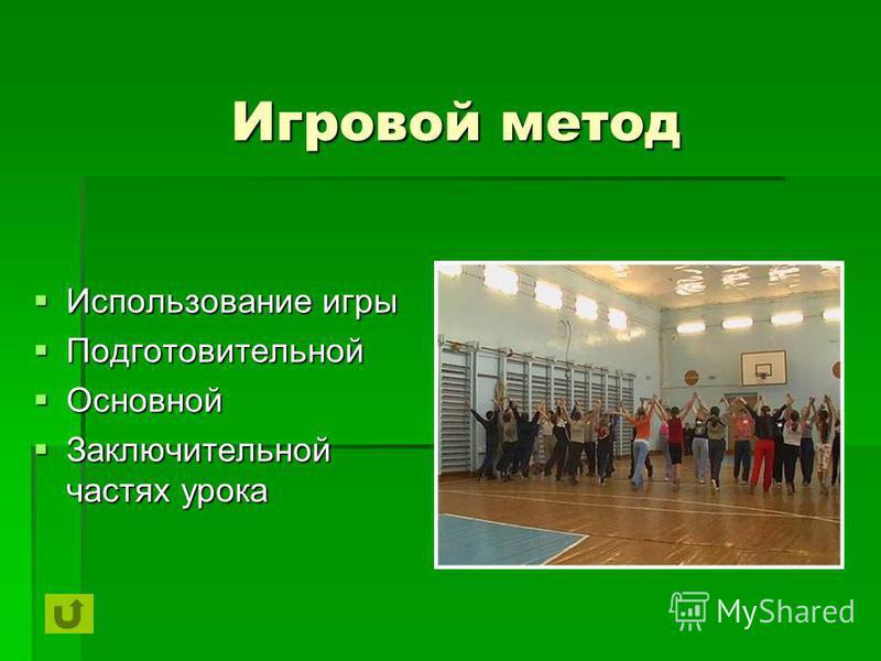 Игровой метод Использование игры Использование игры Подготовительной Подготовительной Основной Основной Заключительной частях урока Заключительной частях урока