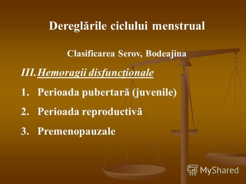 Dereglările ciclului menstrual Clasificarea Serov, Bodeajina III.Hemoragii disfuncţionale 1.Perioada pubertară (juvenile) 2.Perioada reproductivă 3.Premenopauzale