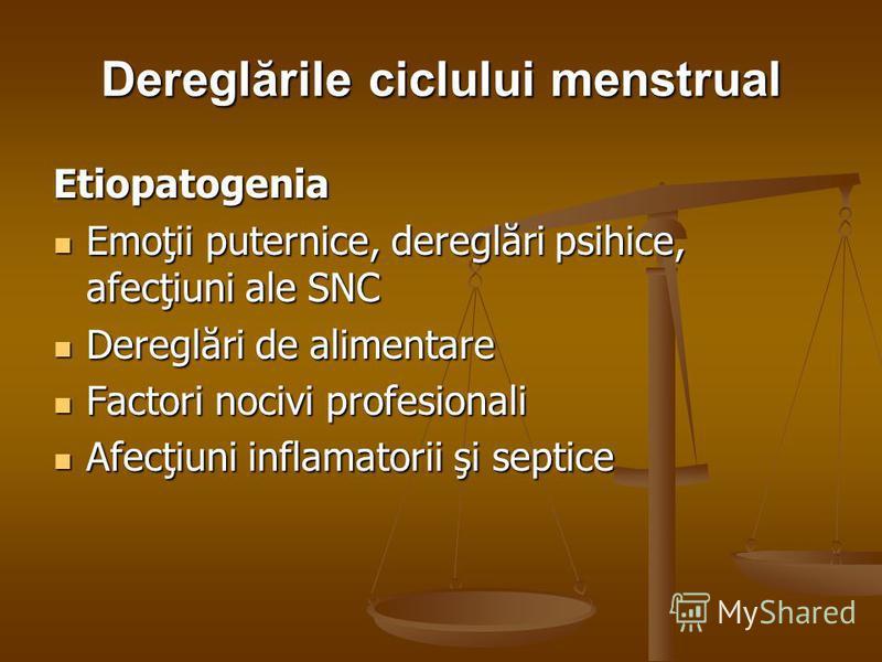 Dereglările ciclului menstrual Etiopatogenia Emoţii puternice, dereglări psihice, afecţiuni ale SNC Emoţii puternice, dereglări psihice, afecţiuni ale SNC Dereglări de alimentare Dereglări de alimentare Factori nocivi profesionali Factori nocivi prof