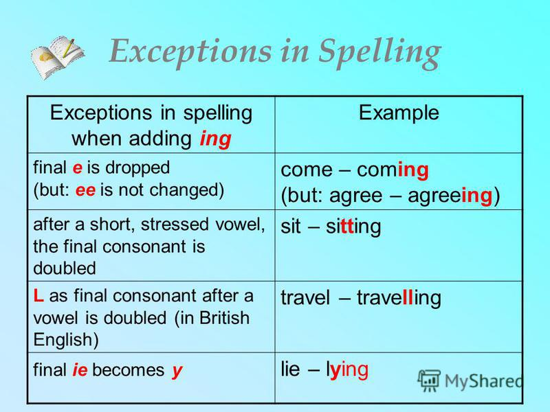 Exceptions in Spelling Exceptions in spelling when adding ing Example final e is dropped (but: ee is not changed) come – coming (but: agree – agreeing) after a short, stressed vowel, the final consonant is doubled sit – sitting L as final consonant a