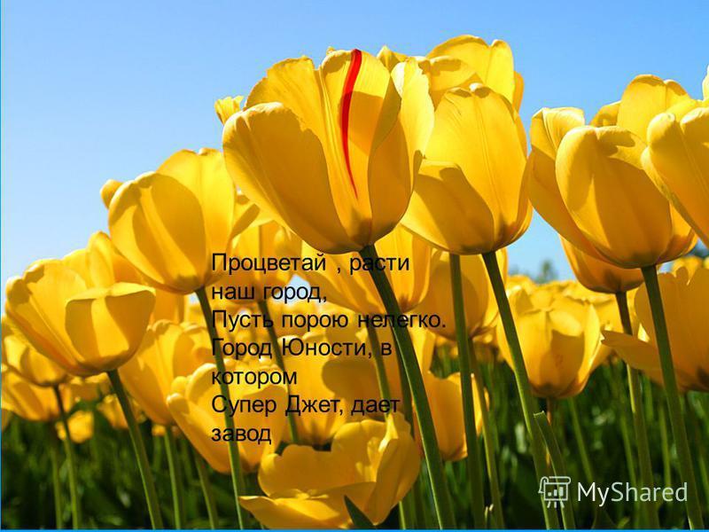Растут и мужают гиганты заводы, сады зеленеют и парки цветут. Так будь же во веки веков нерушимый, Овеянный славой красуйся и стой. Ты гордость России, наш город любимый, Надежная пристань семьи трудовой.