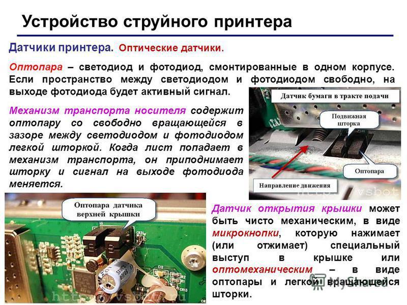 Устройство струйного принтера Датчики принтера. Оптические датчики. Оптопара – светодиод и фотодиод, смонтированные в одном корпусе. Если пространство между светодиодом и фотодиодом свободно, на выходе фотодиода будет активный сигнал. Механизм трансп