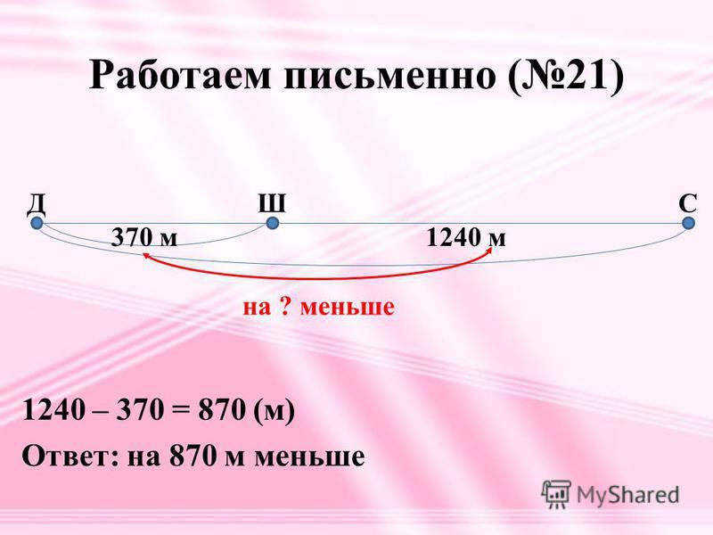 Работаем письменно (21) 370 м 1240 м на ? меньше ДШС 1240 – 370 = 870 (м) Ответ: на 870 м меньше