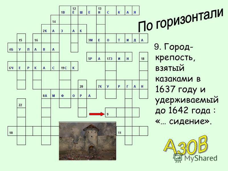 9. Город- крепость, взятый казаками в 1637 году и удерживаемый до 1642 года : «… сидение».