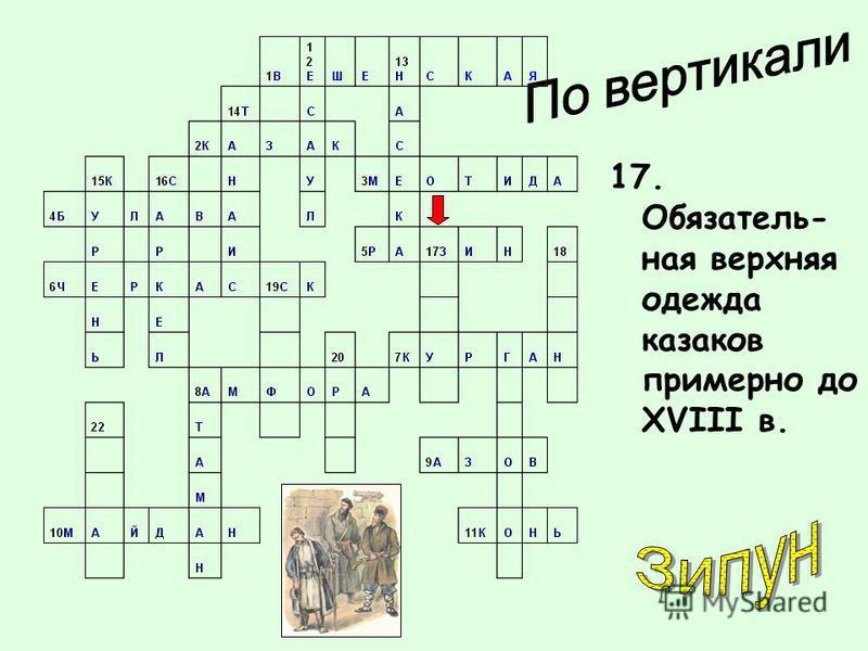 17. Обязатель- ная верхняя одежда казаков примерно до XVIII в.