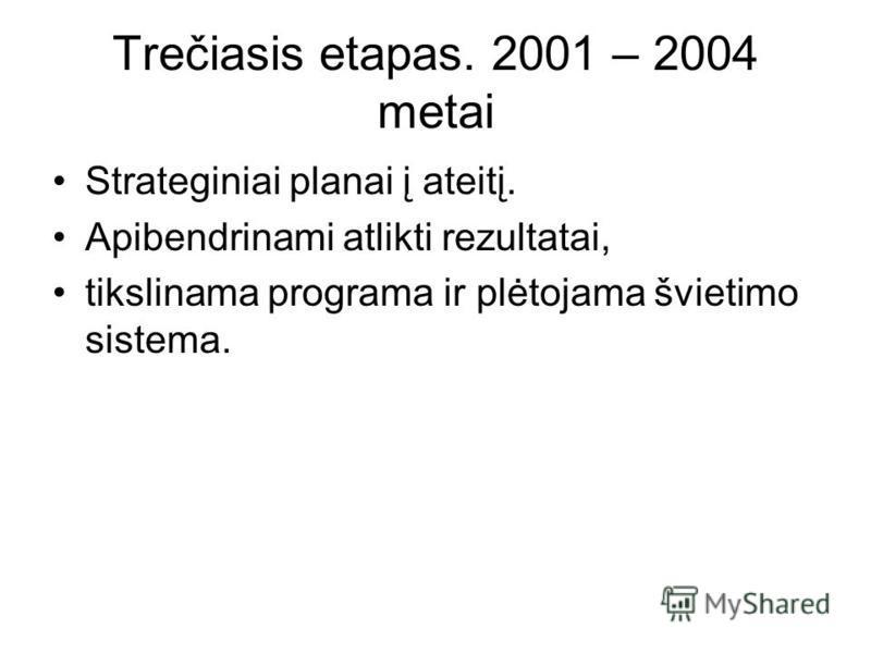 Trečiasis etapas. 2001 – 2004 metai Strateginiai planai į ateitį. Apibendrinami atlikti rezultatai, tikslinama programa ir plėtojama švietimo sistema.