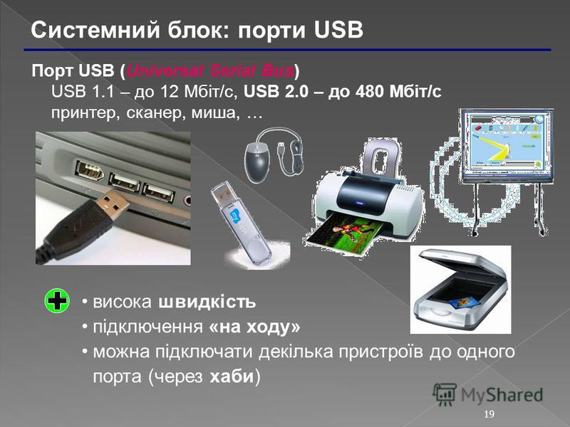 19 Системний блок: порти USB Порт USB (Universal Serial Bus) USB 1.1 – до 12 Мбіт/c, USB 2.0 – до 480 Мбіт/c принтер, сканер, миша, … висока швидкість підключення «на ходу» можна підключати декілька пристроїв до одного порта (через хаби)