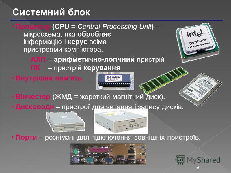 6 Системний блок Процесор (CPU = Central Processing Unit) – мікросхема, яка обробляє інформацію і керує всіма пристроями компютера. АЛП – арифметично-логічний пристрій ПК – пристрій керування Внутрішня память Вiнчестер (ЖМД = жорсткий магнітний диск)