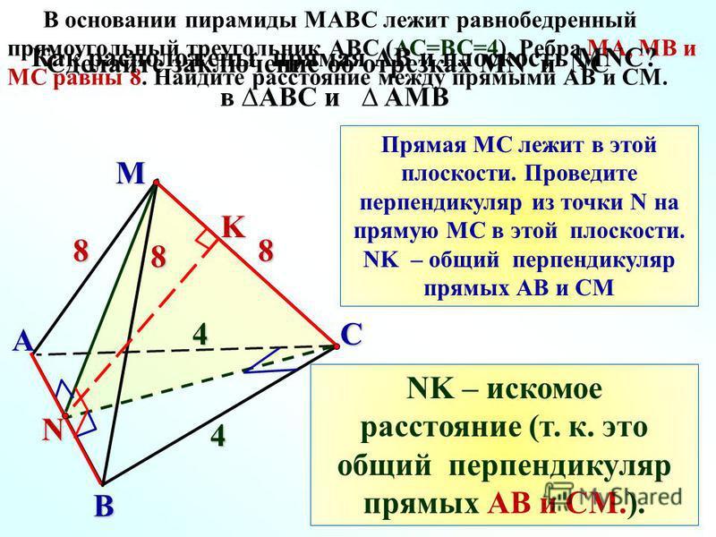 M C A B 8 4 8 4 N В основании пирамиды MАВС лежит равнобедренный прямоугольный треугольник АВС (АС=ВС=4). Ребра МА, МВ и МС равны 8. Найдите расстояние между прямыми АВ и СМ.8 Сделайте заключение об отрезках MN и NC в АВС и AМВ Прямая МС лежит в этой