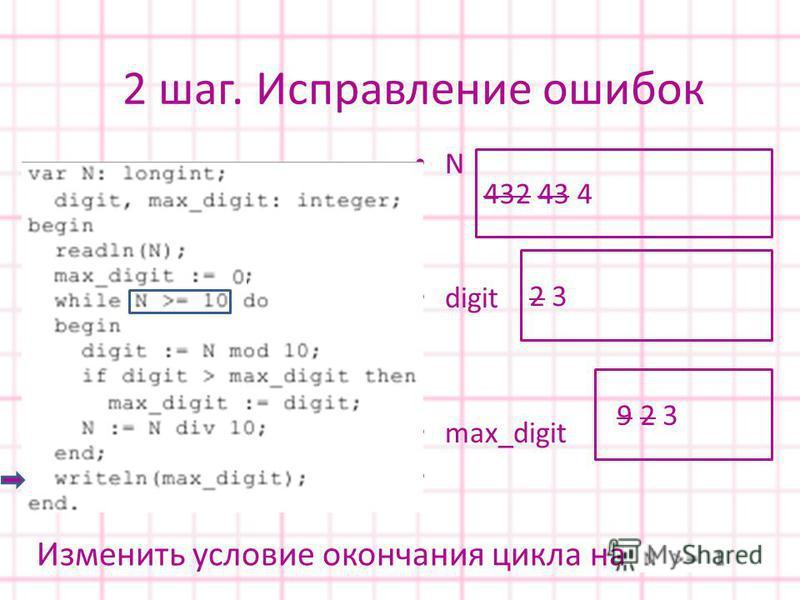 Изменить условие окончания цикла на N digit max_digit 432 43 4 9 9 2 3 2 3 2 шаг. Исправление ошибок