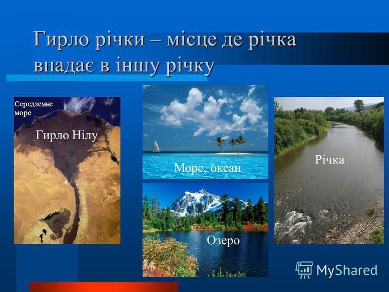 Гирло річки – місце де річка впадає в іншу річку Море, океан Озеро Річка Гирло Нілу Середземне море