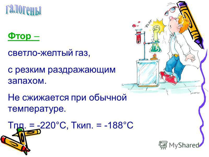 Фтор – светло-желтый газ, с резким раздражающим запахом. Не сжижается при обычной температуре. Tпл. = -220°С, Tкип. = -188°С