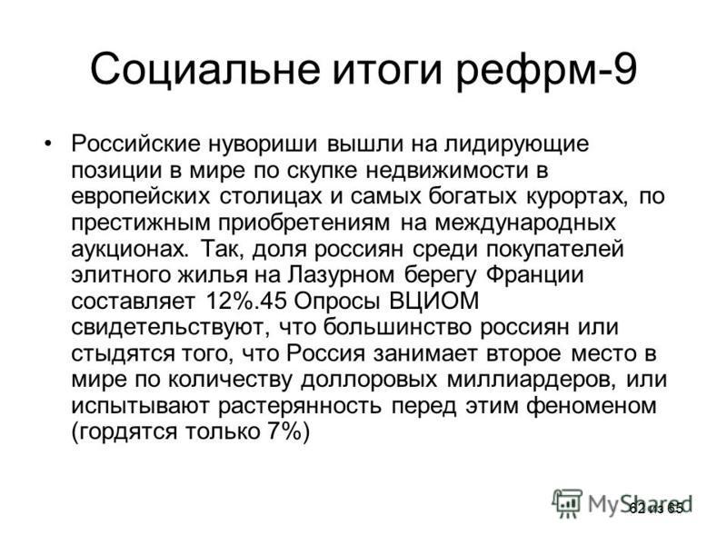 62 из 65 Социальне итоги рефрм-9 Российские нувориши вышли на лидирующие позиции в мире по скупке недвижимости в европейских столицах и самых богатых курортах, по престижным приобретениям на международных аукционах. Так, доля россиян среди покупателе