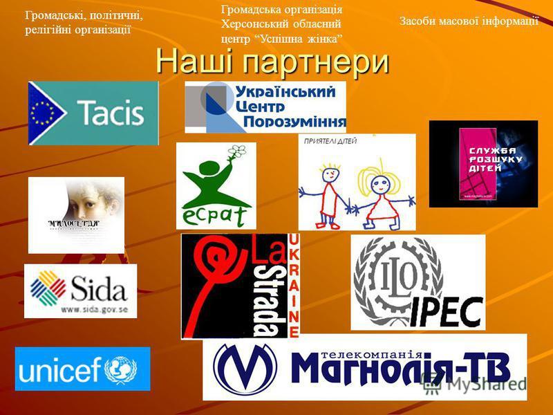 Наші партнери Громадські, політичні, релігійні організації Громадська організація Херсонський обласний центр Успішна жінка Засоби масової інформації