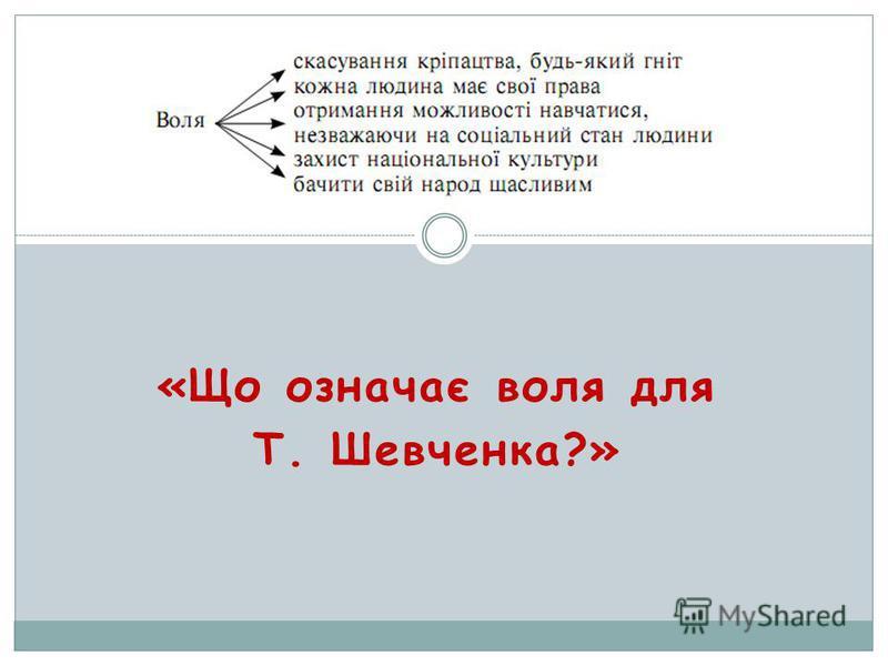 «Що означає воля для Т. Шевченка?»