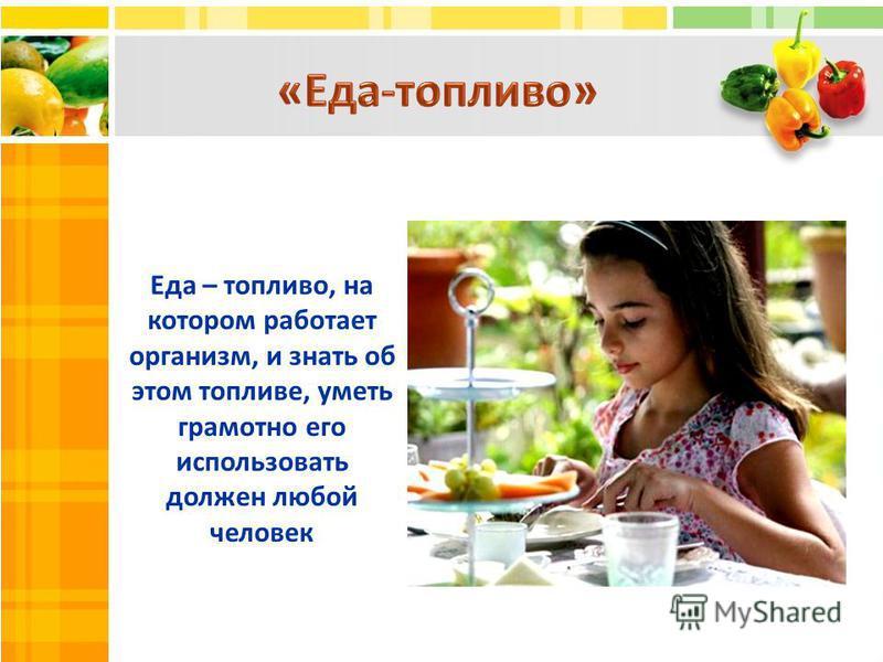 Еда – топливо, на котором работает организм, и знать об этом топливе, уметь грамотно его использовать должен любой человек