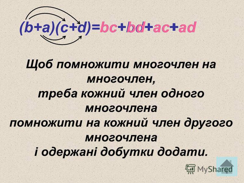 (b+a)(c+d)=bc+bd+ac+adbcacbdad+++ Щоб помножити многочлен на многочлен, треба кожний член одного многочлена помножити на кожний член другого многочлена і одержані добутки додати.