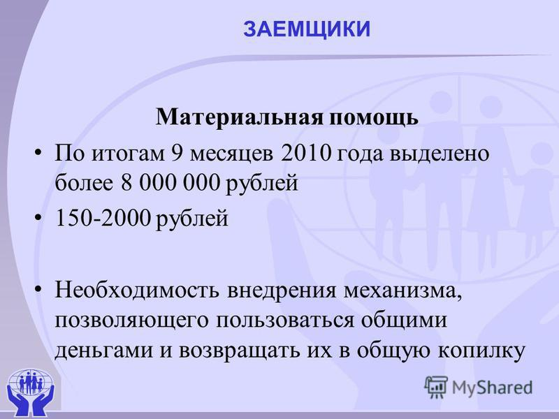 ЗАЕМЩИКИ Материальная помощь По итогам 9 месяцев 2010 года выделено более 8 000 000 рублей 150-2000 рублей Необходимость внедрения механизма, позволяющего пользоваться общими деньгами и возвращать их в общую копилку